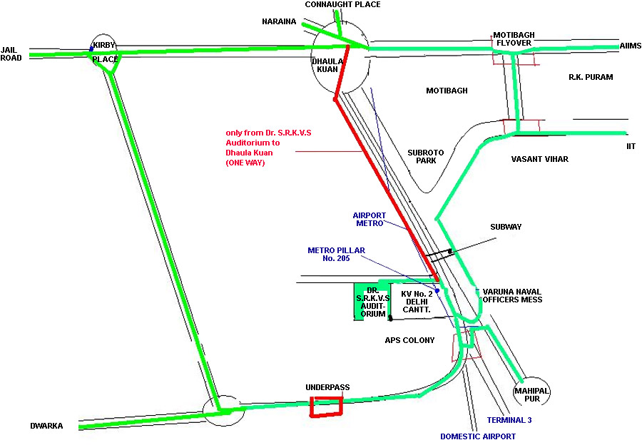 Route Map of Dr. Sarvepalli Radhakrishnan Auditorium (Dr. SRKVS)